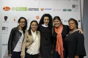 Kendys Flórez Socióloga,  Diana Sánchez Estudiante de Diseño de Modas, Diana Castro Abogada y Ruby Borja Docente.