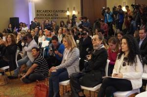 Todos los asistentes a la rueda de prensa con Antonio Banderas