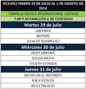 PARRILLA DE DESFILES IFLS JULIO 2014