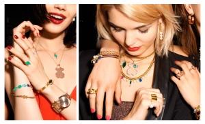 Mezclas de collares y pulseras superpuestas con románticas perlas y llamativas piedras de diferentes colores y tamaños son la propuesta principal de esta campaña.